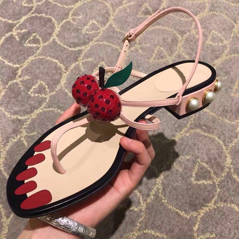 Plage Sandales Shown Plates Clouté Plats Shown as Talons Cerise As Femmes strap T Piste Femme Chaussures Luxe Pour Perle EqARIt