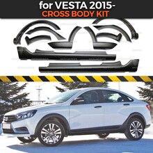 Lada Vesta 2015 용 크로스 바디 키트 확장 펜더 및 사이드 스커트 1 set / 10 pcs 플라스틱 ABS 보호 트림 커버 자동차