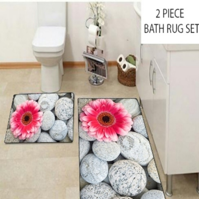 Else Big Pink Flowers on Gray Pebble Stones 2 Pcs 3d Pattern Print Bath Mats Anti Slip Soft Washable Bathroom Mat Toilet Rugs