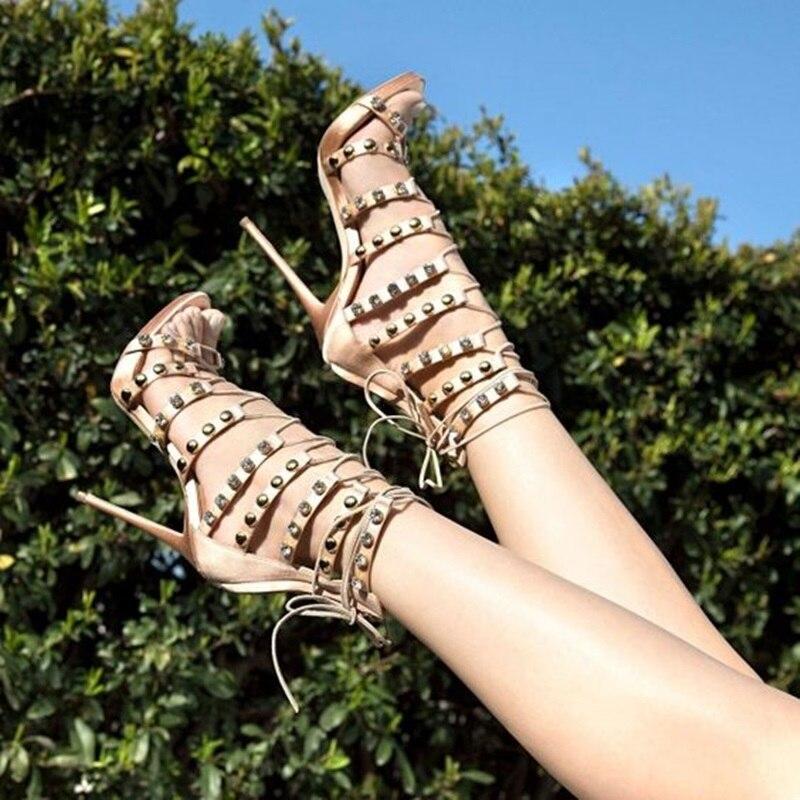 Women Stud Sandals Boots Women Lace Up High Heels Sandals Rivet Decor Peep Toe Party Shoe 2019 Summer NewWomen Stud Sandals Boots Women Lace Up High Heels Sandals Rivet Decor Peep Toe Party Shoe 2019 Summer New