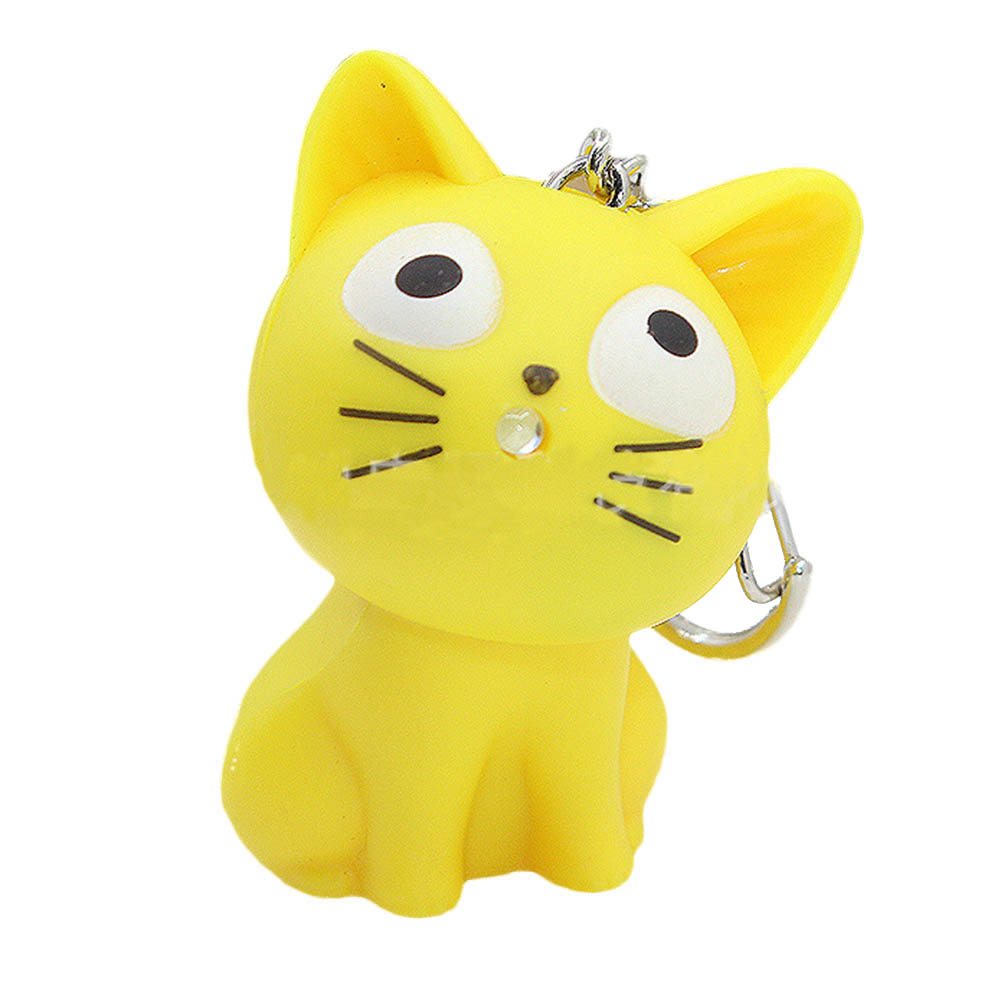 Cute Cheese cat keychain with Meow sound,kawaii led keyring ,Children gift,Valentines day gifts,Bag pandent