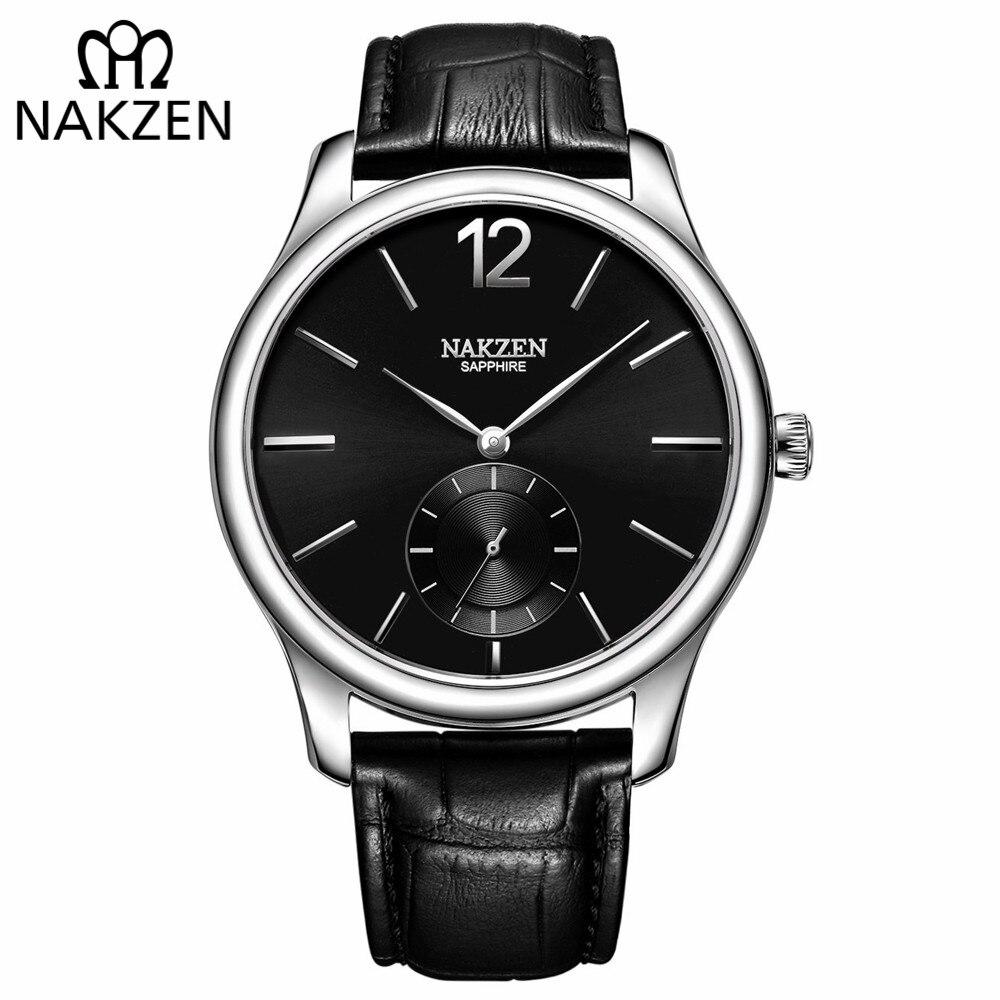 NAKZEN marca de lujo hombres Reloj de cuarzo correa de cuero genuino Hombre relojes de pulsera Reloj de negocios de alta calidad Hombre Reloj-in Relojes de cuarzo from Relojes de pulsera    1