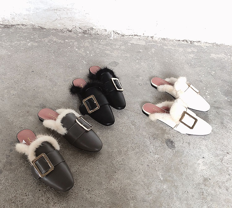 2018 winter hot women leather square toe rabbit fur sole slippers