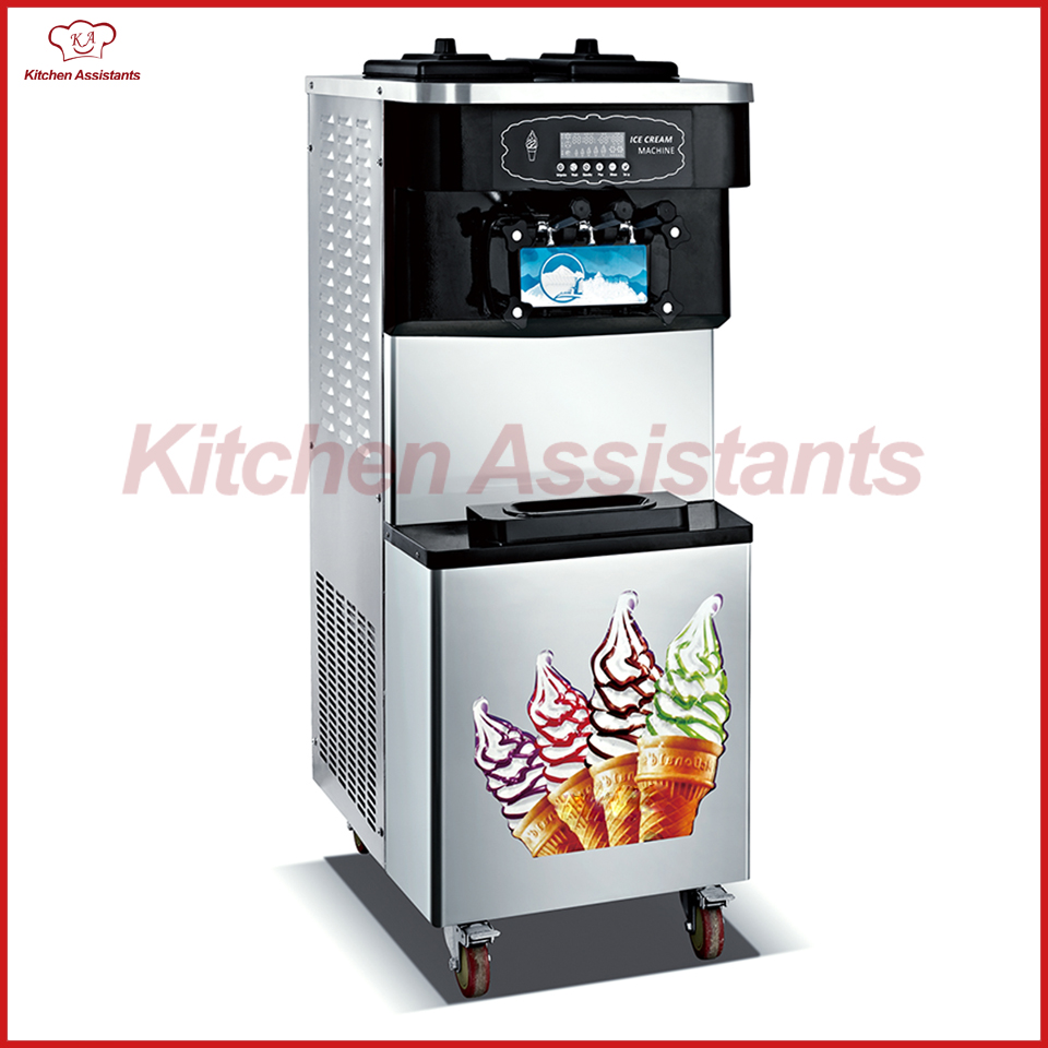 XQ60X  free standing electric soft ice cream maker machine for commercial kitchen restaurant hotel soft ice cream machine commercial 3 color icecream maker 32l ship by sea free