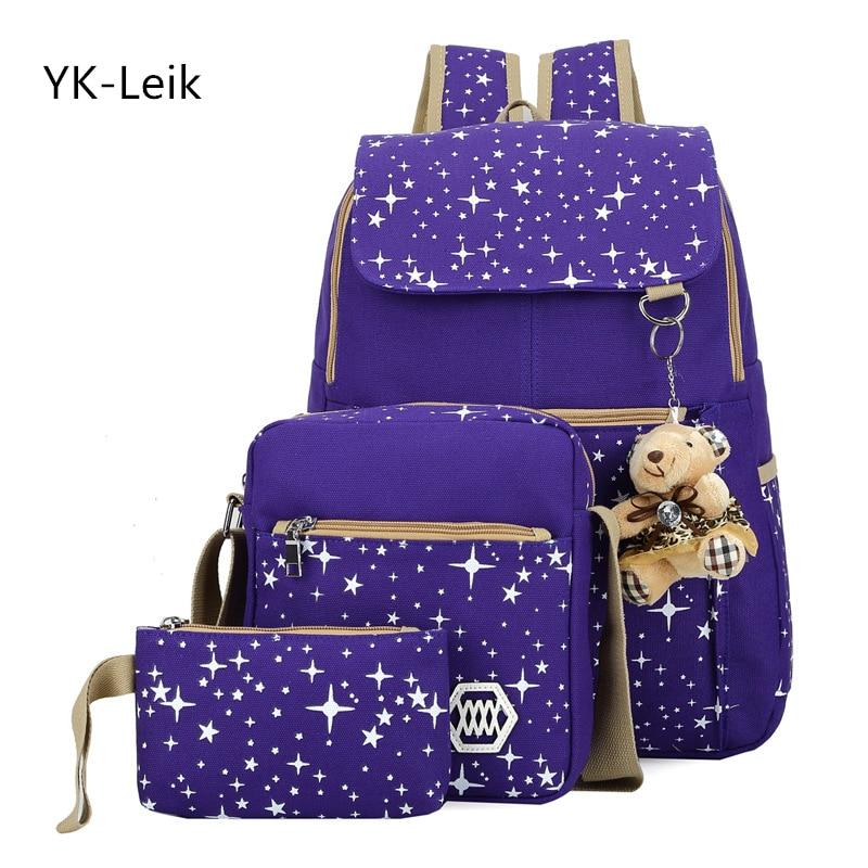 YK вебе-leik высокое Ёмкость рюкзак с медведем Школьные ранцы для подростков Обувь для девочек Рюкзаки печати милые школьная сумка Mochila Infantil