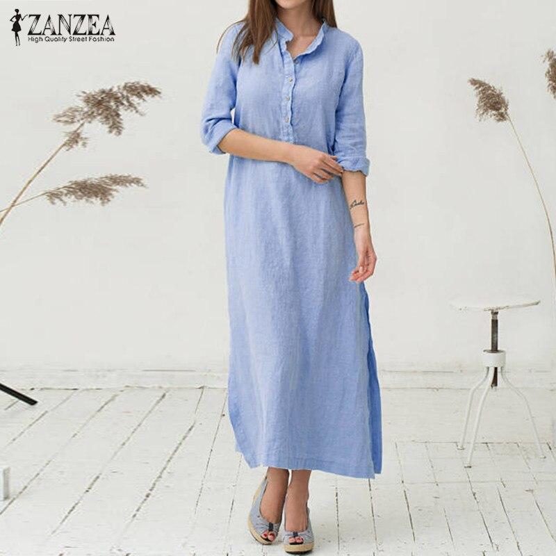 ZANZEA Women Dress 2018 Autumn Casual Loose Cotton Vestidos Stand Colalr Long Sleeve Sexy Split Hem Maxi Long Dresses Plus Size