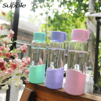 300ml My Bottle Brief Direct Drinking Eco Friendly Silicon Glass Water Bottle With Lid Hiking Gift