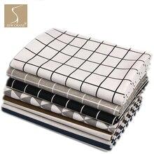 150 см в ширину постельное белье с геометрическим узором сетка треугольные квадраты полосы серая ткань черная льняная базовая ткань белая DIY швейная ткань ремесло ткань