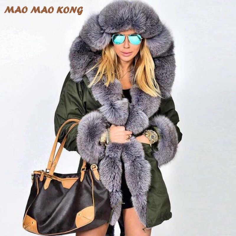 2019New Real de piel de abrigo independiente forro cuello de piel de zorro Natural de piel de conejo Rex de Parka chaqueta de invierno abrigo largo de piel abrigo de mujer