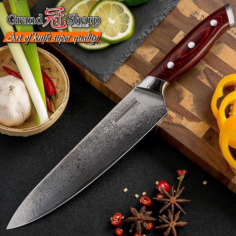 GRANDSHARP 67 Layers Japanese Damascus Knife Damascus Chef Knife 8 Inch VG-10 Blade Damascus Kitchen Knives Pakka Handle PRO NEW