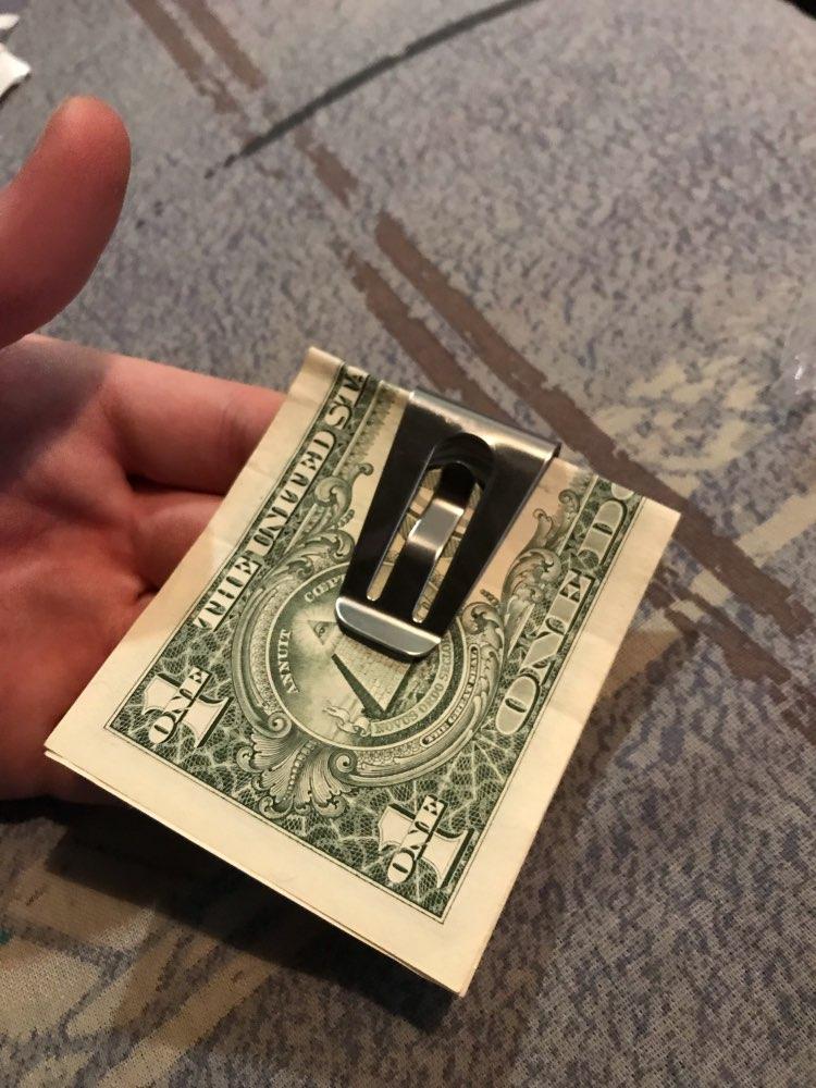 ISKYBOB Beste Mini Heren RVS Zilveren Slanke Pocket ID Kaart Geldgeld Cliphouder photo review