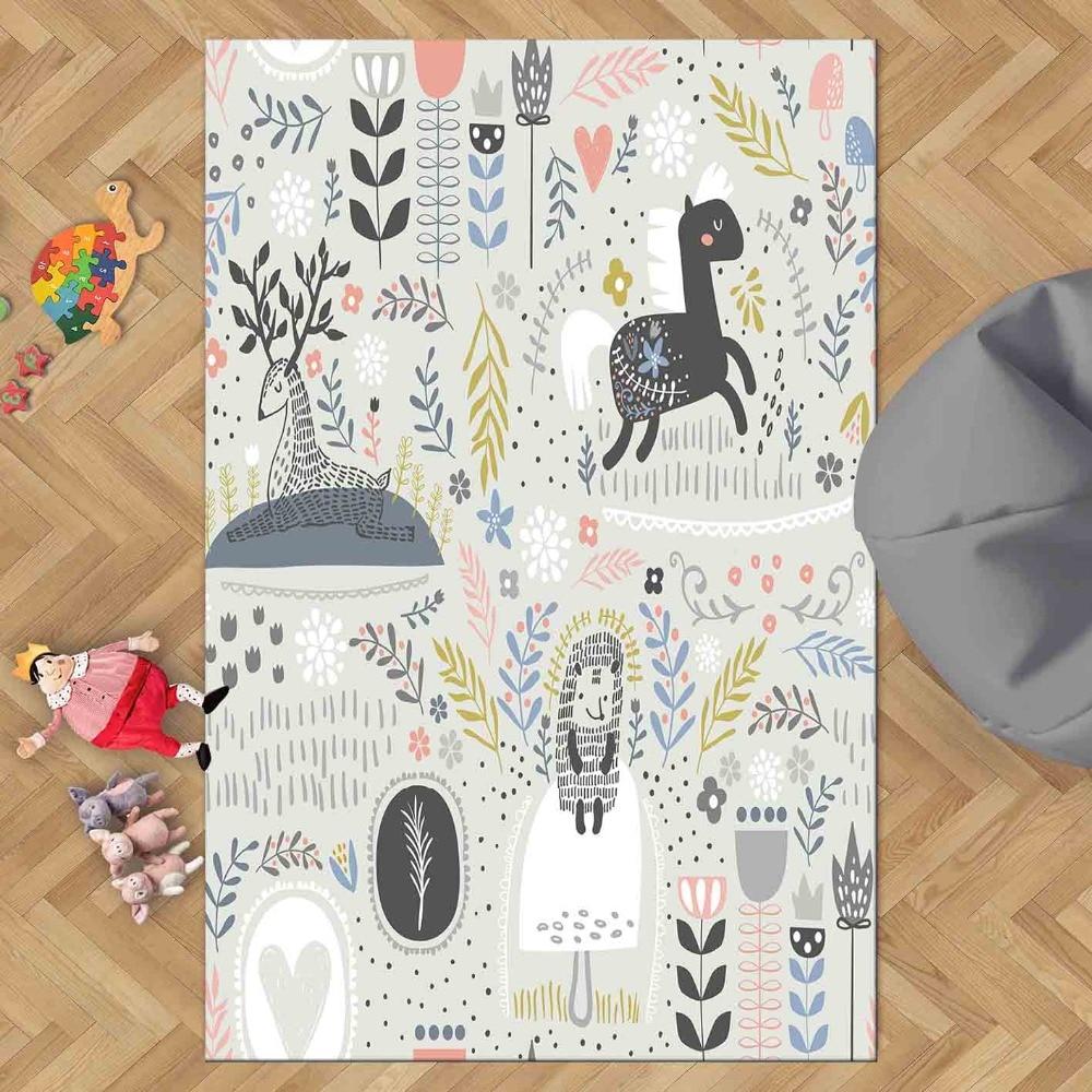 Else Black Gray Scandinavian Horse Animals Forest 3d Print Non Slip Microfiber Children Kids Room Decorative Area Rug Kids  Mat