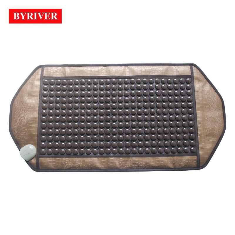 BYRIVER 92*45CM Natural Real Jade Stone Tourmaline Heating Pad Thermal Massage Mat Far Infrared Ray FIR Heat Ceramic Mattress