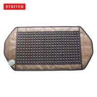 BYRIVER 92*48CM Natural Real Jade Stone Tourmaline Heating Pad Thermal Massage Mat Far Infrared Ray FIR Heat Ceramic Mattress