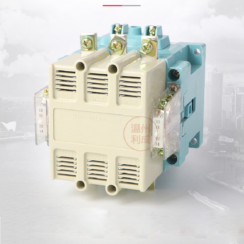 CJ20-100A single-phase three-phase 380V AC contactor 24/36/110/220V /380Vsilver contact sayoon dc 12v contactor czwt150a contactor with switching phase small volume large load capacity long service life