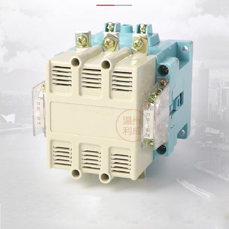 CJ20-100A single-phase three-phase 380V AC contactor 24/36/110/220V /380Vsilver contact цена