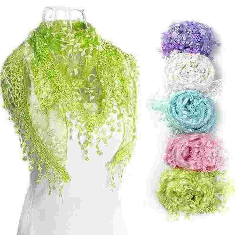 #30 2019 bufanda de Invierno para mujer de alta moda bufanda de encaje borla pura Burntout estampado Floral triángulo Bandage Mantilla bufanda chal