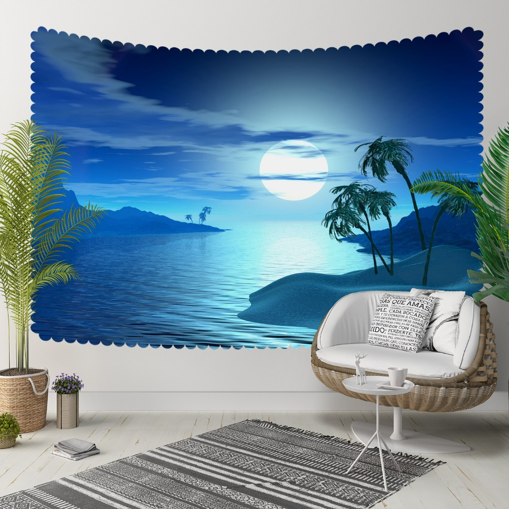 Autre Tropical bleu nuit lune briller côté mer 3D impression décorative Hippi bohème tenture murale paysage tapisserie mur Art