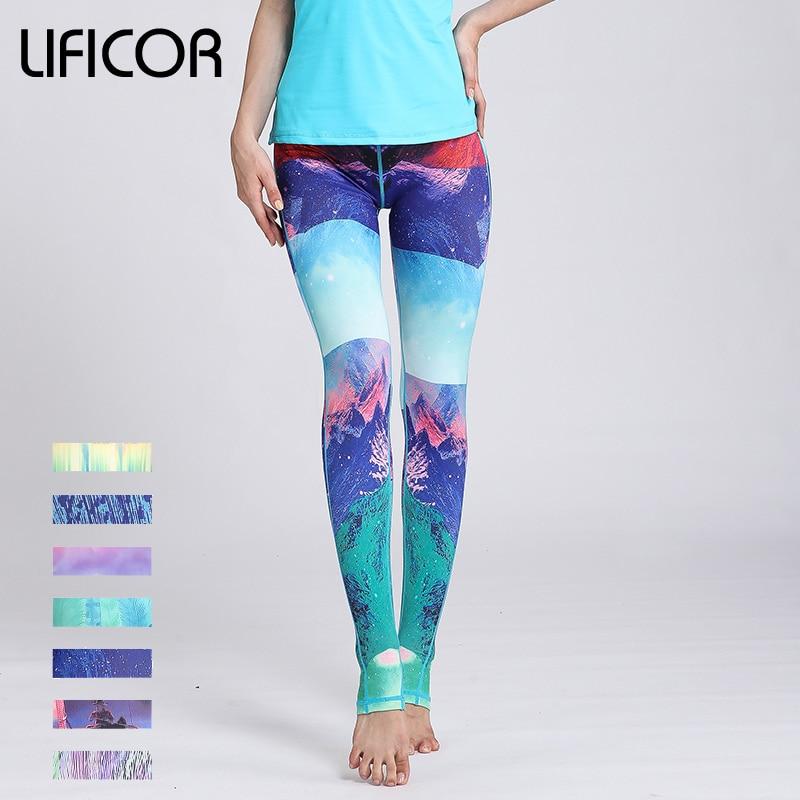 New Women Yoga Pants Running Fitness Leggings Sport Yoga Pants for Female Athletic Pants Gym Sexy Print Fit Elastic Slim Waist active blue random print yoga leggings