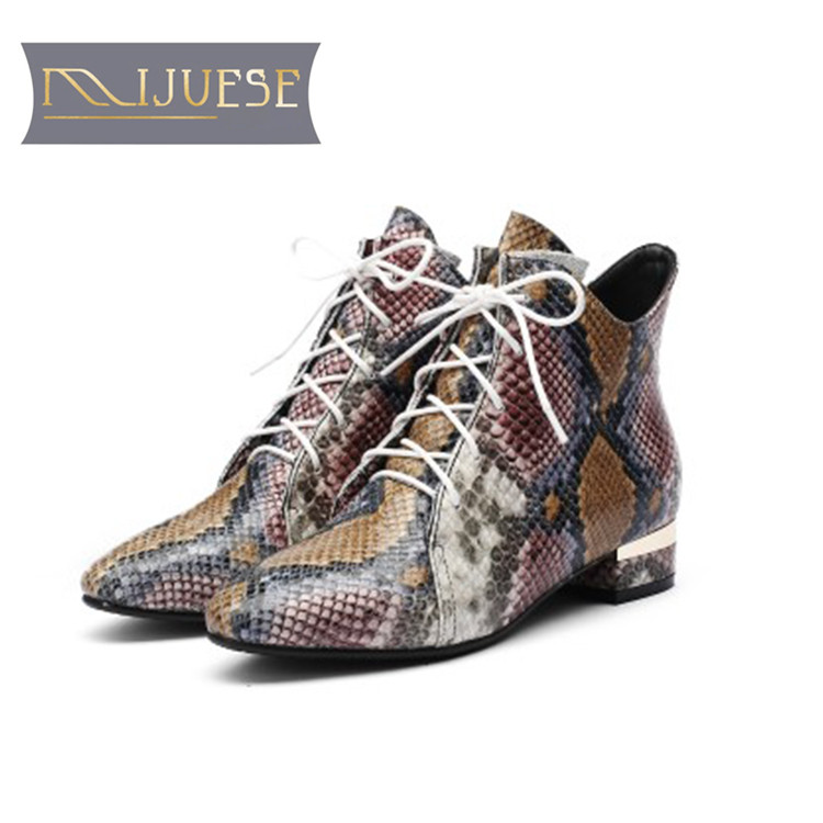 MLJUESE 2019 women ankle boots cow leather snake striped Totem low heel winter warm female boots women martin boots size 33-43 prova perfetto fashion new low heel flip flop shoes popular style mixed color genuine leather cozy women outside summer sandals