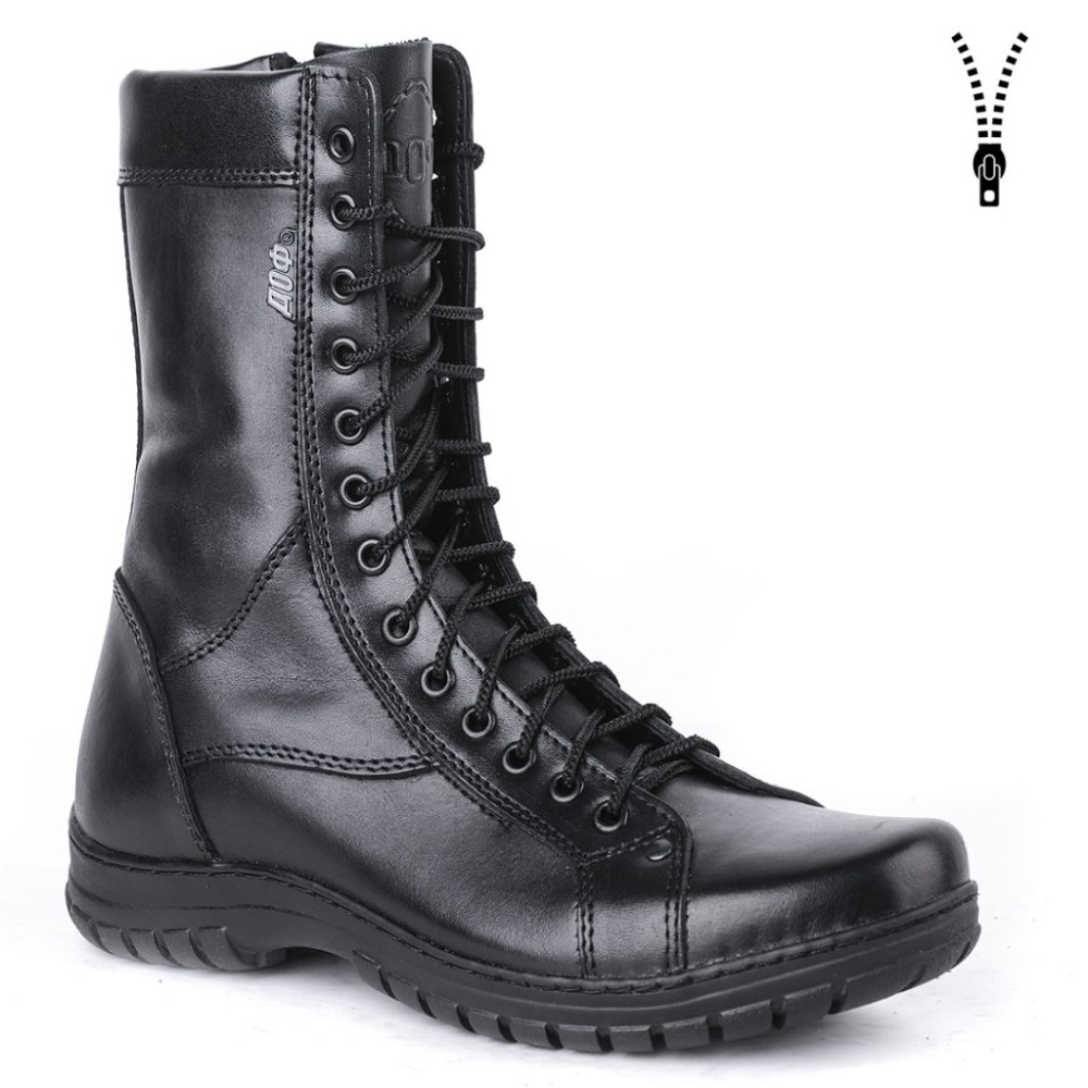genuine leather lace-up black army ankle boots men high shoes flat military boots 0054/11 WA