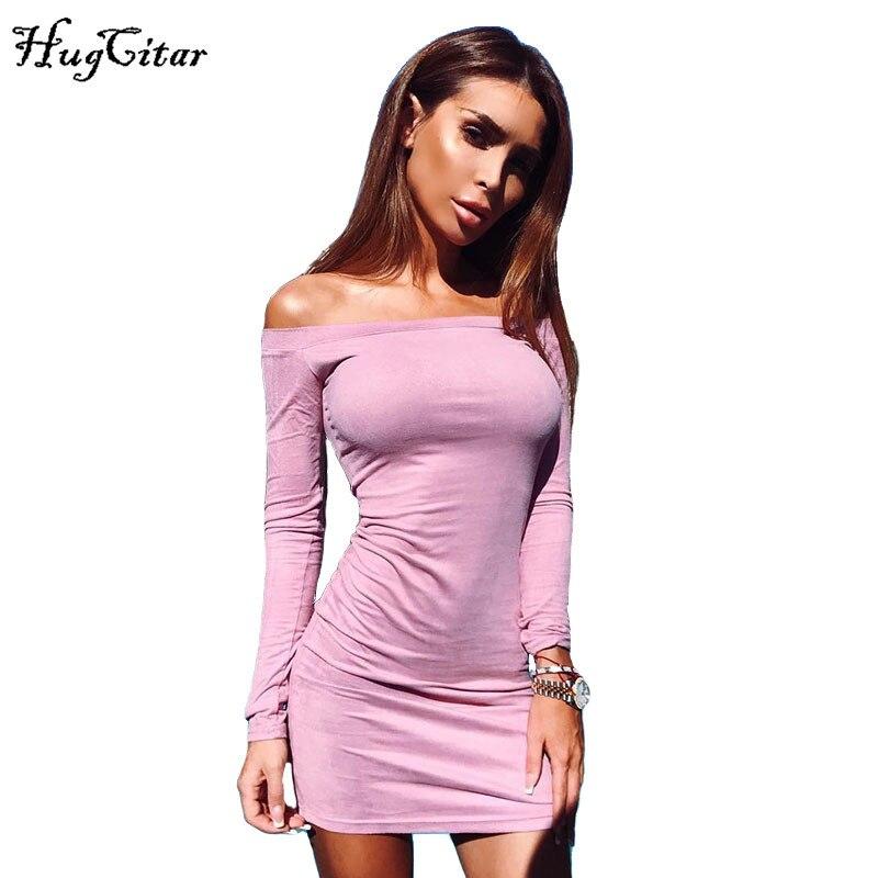 Hugcitar с длинным рукавом с плеча Для женщин Замшевое платье 2017 осень-зима женский сексуальный мини Bodycon вечерние клуб Платья для женщин розовый черный