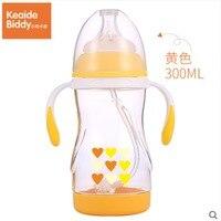 Children handle cartoon silicone nipple infant shatter proof heat proof 300ml Tritan baby bottle on sale KD1266