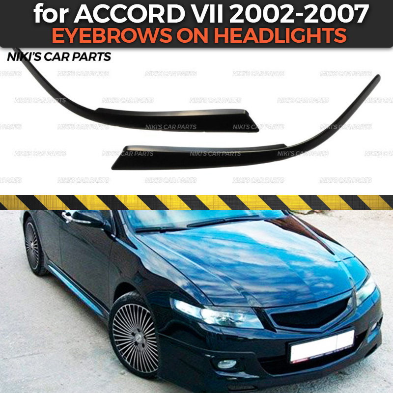 Eyebrows On Headlights Case For Honda Accord VII 2002-2007 ABS Plastic Cilia Eyelash Molding Decoration Car Styling Tuning