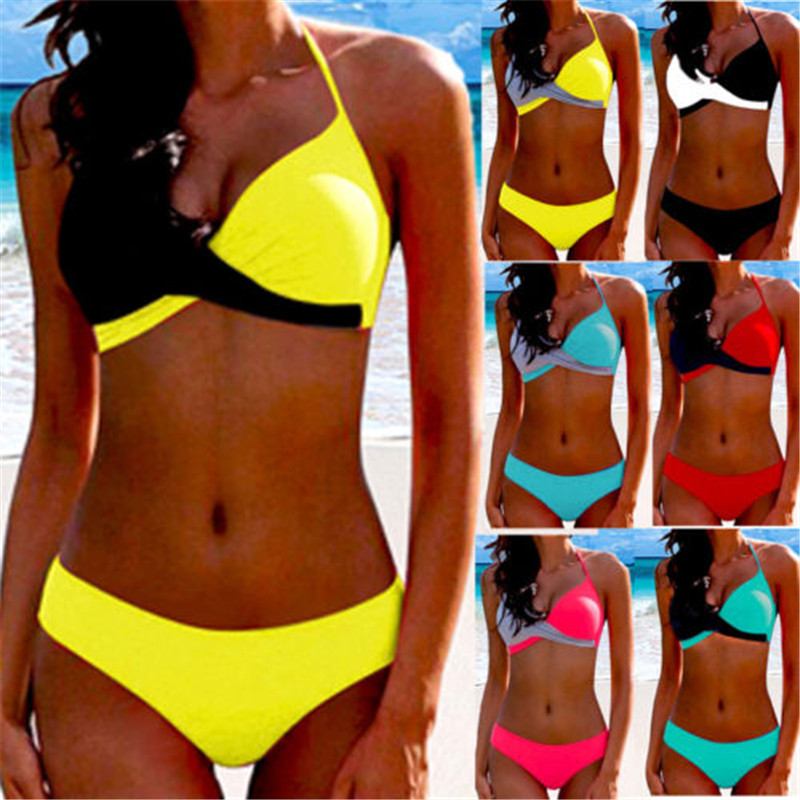 Sexy Bikini 2019 Women Halter Neck Splice Woman Swimsuit Female Swimming Suit Patchwork Swimwear Women Bathing Suit Bikinis Set