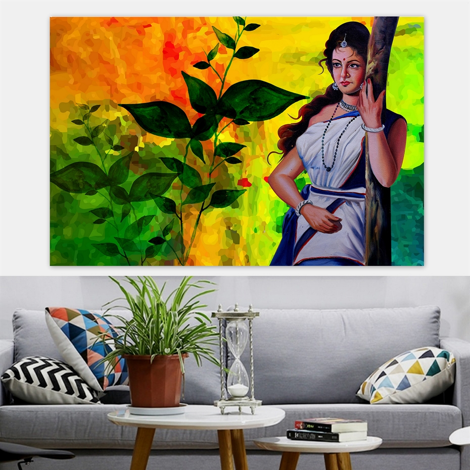 Traditional Indian Village Woman in Saree Handmade Canvas Painting Poster  Print Wall Art Picture for Home Decor,Wall Hanging