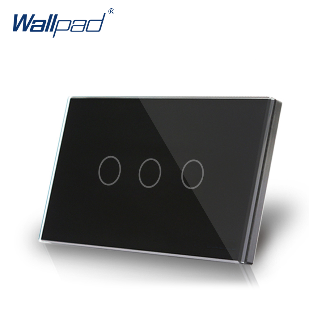 3 Gang 1 Way Smart Touch Switch US/AU 118*72mm Wallpad Luxury Crystal Black Glass LED Indicator Electrical Wall Power Switch 3 gang 1 way 118 72mm wallpad white glass touch wall switch panel led 110v 250v au us switching power supply free shipping