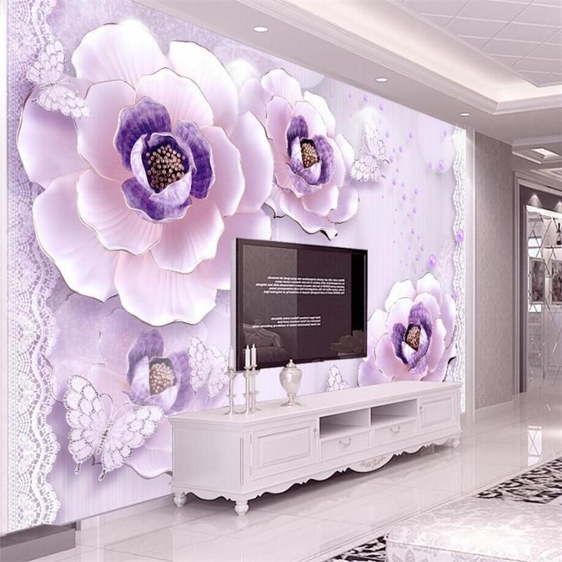 3d Geprägte Romantische Lila Pfingstrose Europäischen Tv-hintergrund Wand Eigene Tapete Wandbild