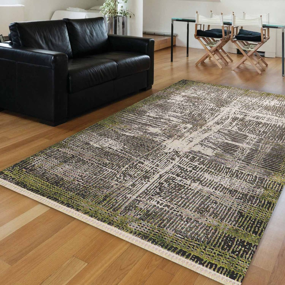 Else Green Authentic Brown Lines Turkish Ethnic Vintage 3d Print Anti Slip Kilim Washable Decorative Area Rug Bohemian Carpet