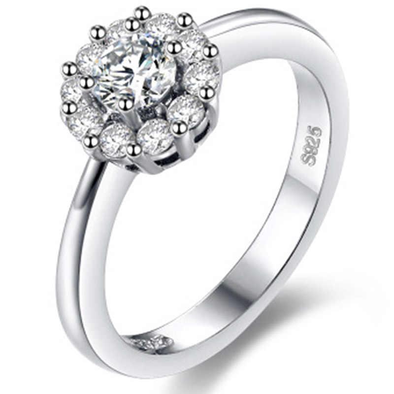 Nueva llegada Vintage gran piedra Color plata anillos de boda para mujeres dijes anillo flor joyería