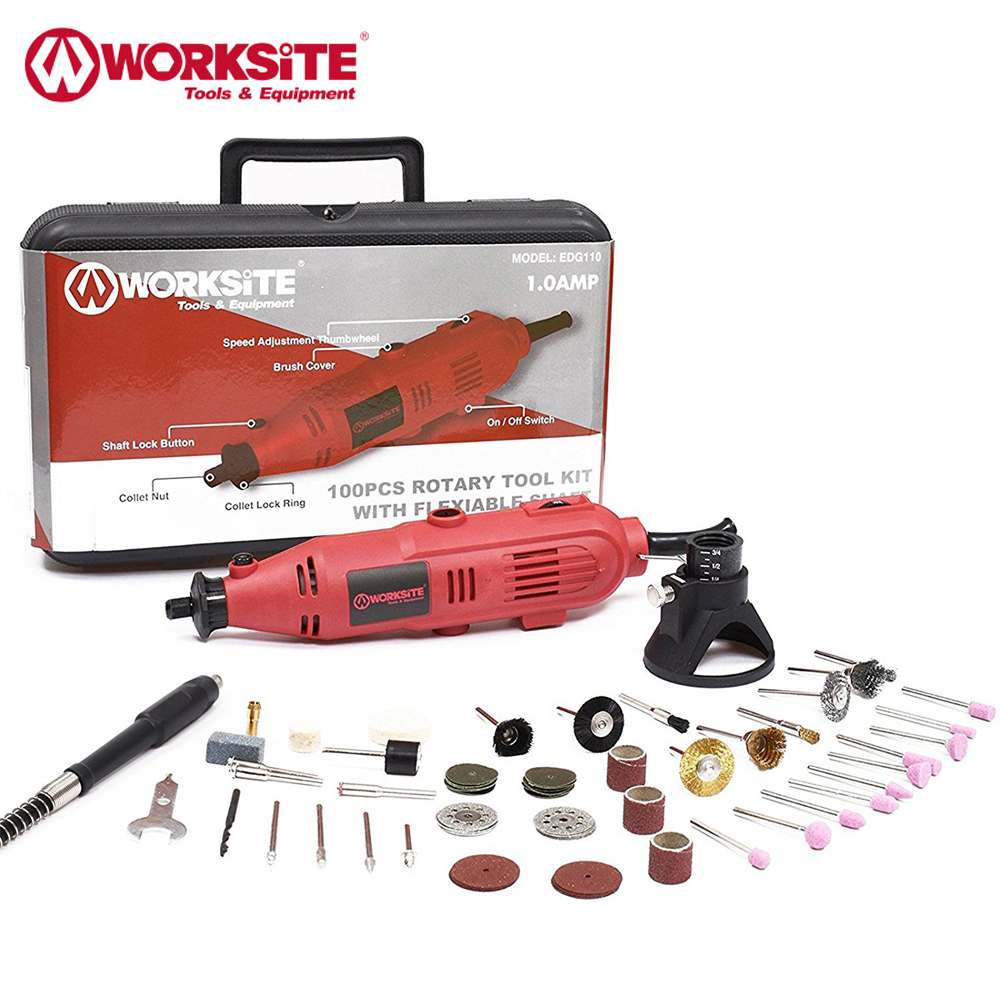 121 Pieces Rotary Tool Kit WORKSITE Mini Drill Variable Speed Grinder Drilling Machine with Engraving Accessories