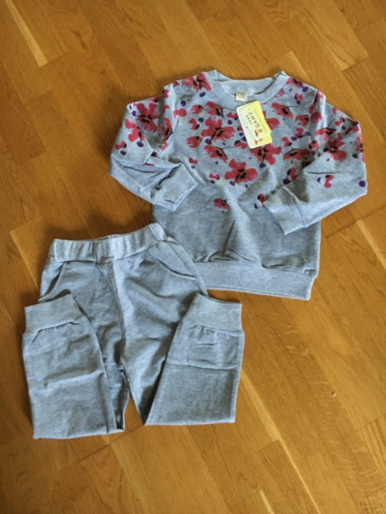Girl's Floral Pattern Sweatshirt and Pants Set photo review