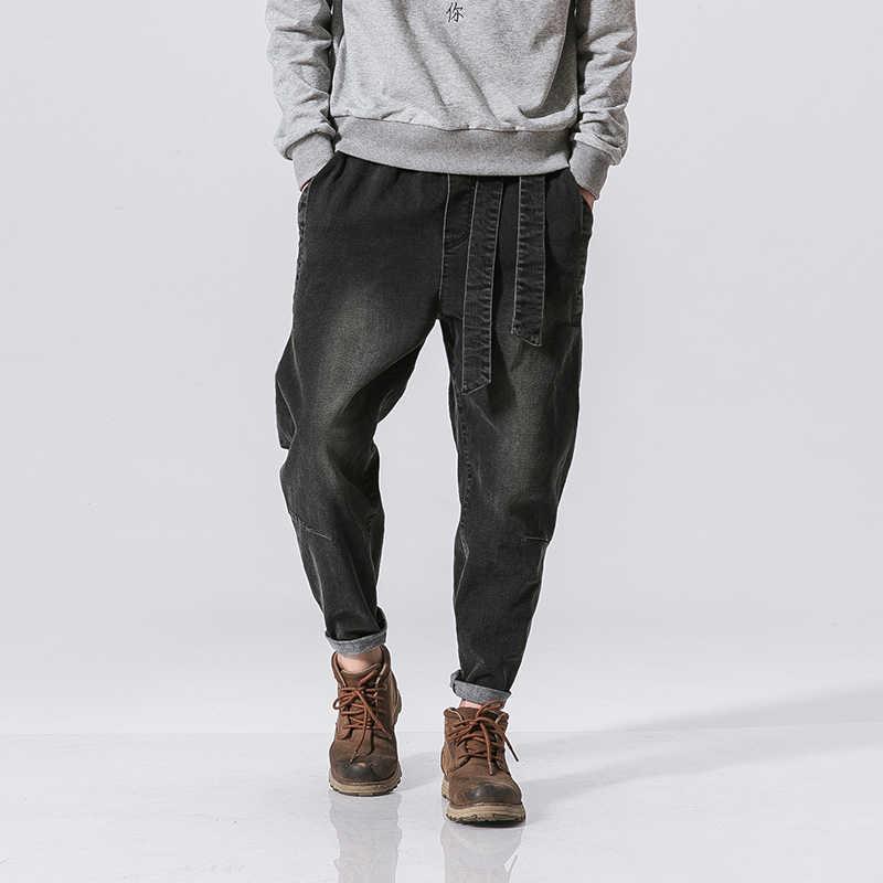 MRDONOO Mannelijke losse voeten broek Chinese wind om de oude retro gewassen losse taille jeans B375-K47