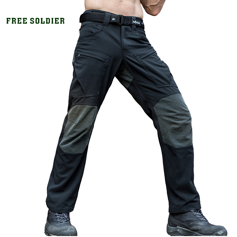 FREE SOLDIER Outdoor sports tactical military cargo pants men's trousers wear-resistant pants for camping hiking zoom led flashlight 18650 rechargeable camping portable light tactical bicycle cycling torchlight waterproof bike torch