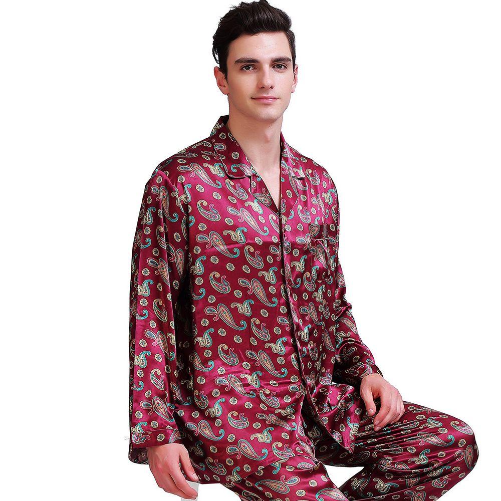 Mens Silk Satin Pajamas Set Pajama Pyjamas Pjs Sleepwear