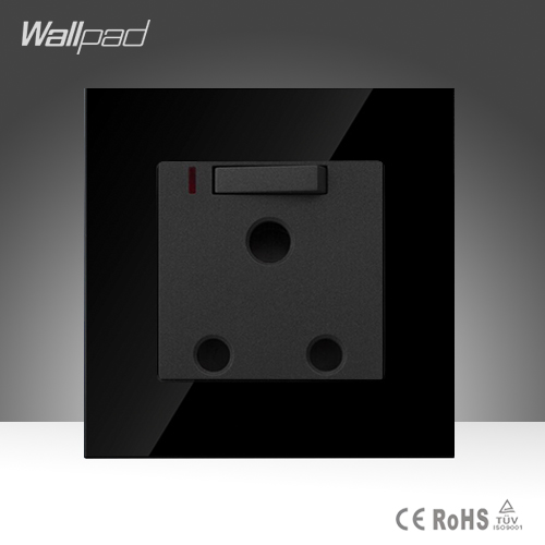 Wallpad Luxury 15A/16A UK Switched Socket Black Crystal Glass Switch and 15A/16A UK South Africa Socket With Led, Free Shipping