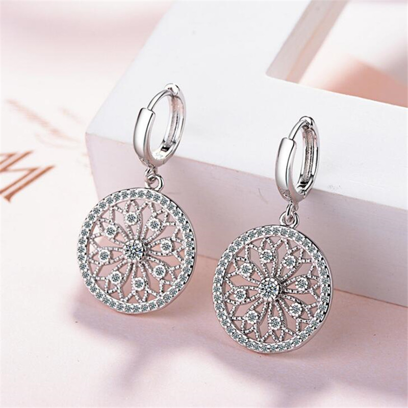 Original Creative Real 925 Sterling Silver Dreamcatcher Round Stud Earrings For Women Fashion Silver 925 Jewelry Gift E630 original donut creative earrings