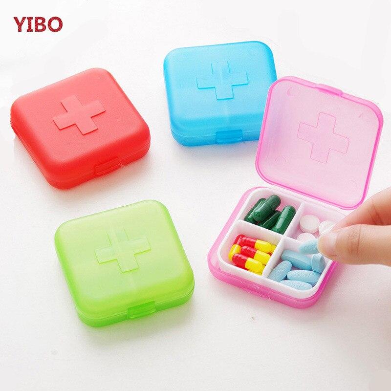 YIBO Portable four-position medicine box travel portable jewelry storage box business travel prevention drug spare storage box