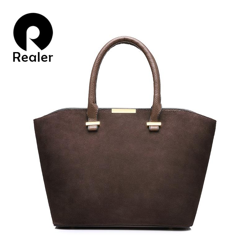 REALER new fashion women handbag high quality artificial leather women tote bag gray/black/red/blue/brown 5 colors crossbody bag игрушка ecx ruckus gray blue ecx00013t1
