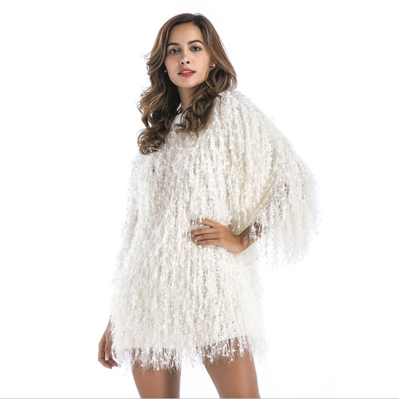 2018 autumn sweater new European and American foreign trade Christmas party evening dress Round neck collar imitation fur coat