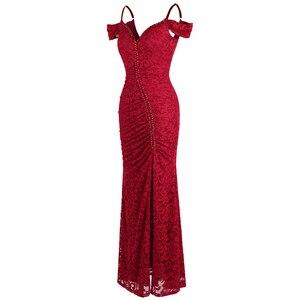 Image 3 - מלאך אופנת נשים של חלוק דה soiree סירה צוואר קפל תחרה ואגלי פיצול בת ים ארוך אדום המפלגה שמלת 425 200