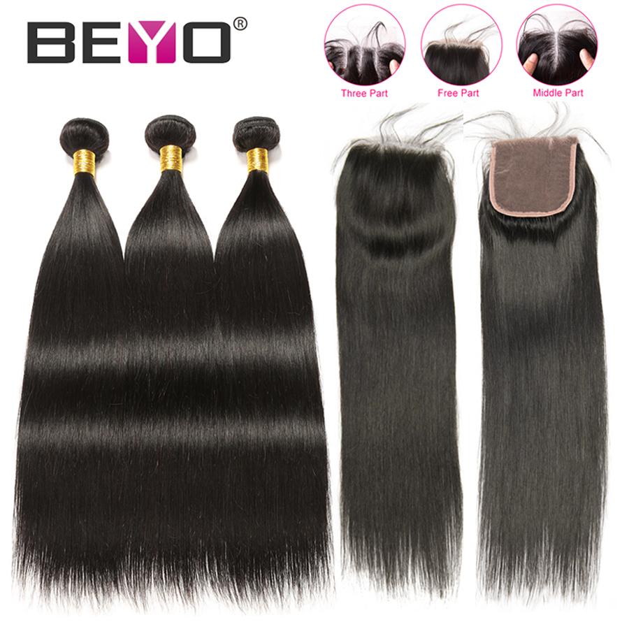 Peruvian Straight Hair Bundles With Closure 100 Human Hair 3 Bundles With Closure Non Remy Hair