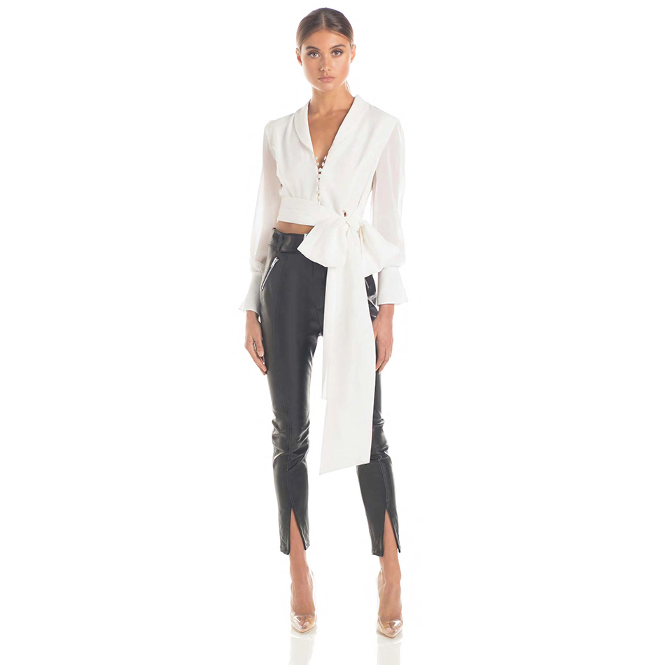 ADYCE 2019 New Arrival Summer White Deep V Neck Fashion Runway Tops Sexy Bow Lace Short Celebrity Evening Party Club Top