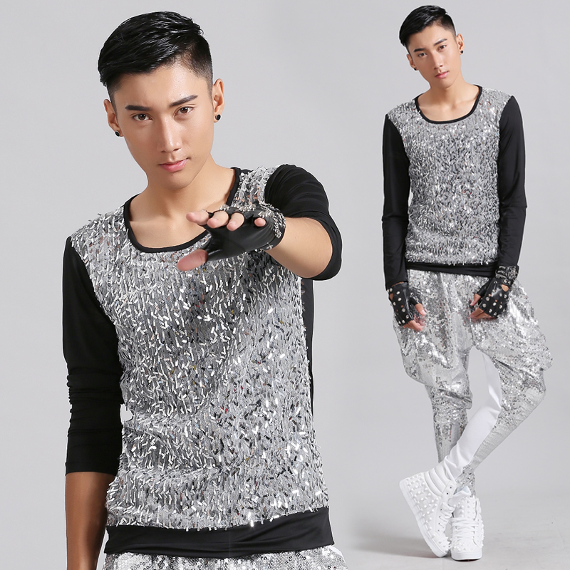 Men Jazz Dance Costumes Hip Hop Dancing Long Sleeve Clothes Rock Sequin Tops Clothing Sexy Man Stage Club Performance WearDWY482