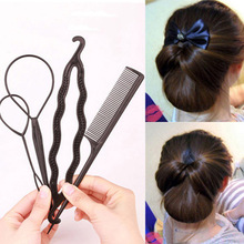 4pcs/set Hair Curly Tools Braid Women Girls DIY Bun Maker Clip Claw Comb