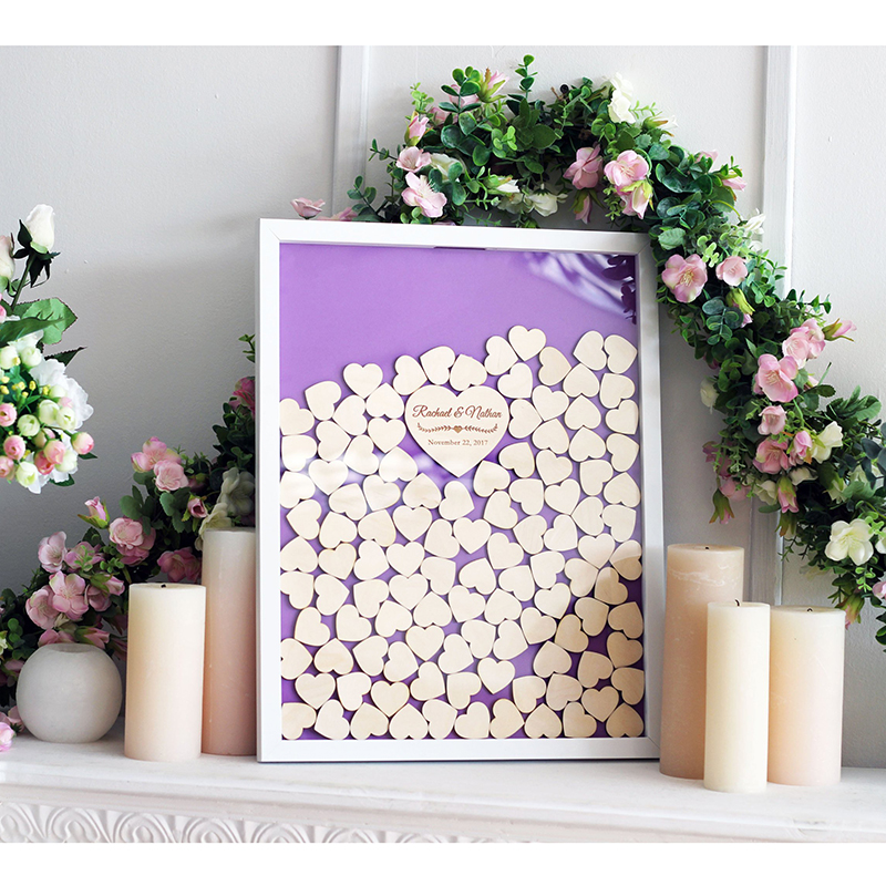 Custom Unique Wedding Guest Book Drop Top Box Personalized Guestbook Ideas Hearts Guest Book Alternative Wood Frame Wood Heart
